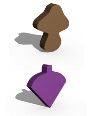 3D model of the wooden upgrades for gem fruits and mushrooms